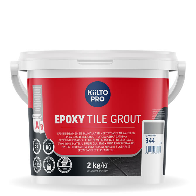 Kiilto Epoxy Tile Grout. Эпоксидная затирка. 344 Quartz Grey.